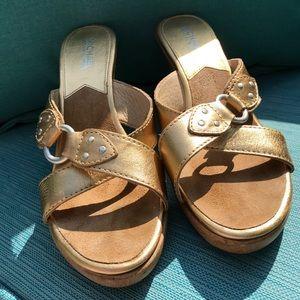 Michael Kors Gold wooden mules size 8